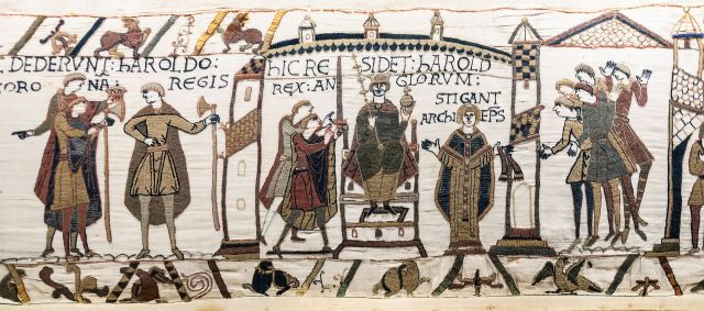 Harold is coronated as shown in the Bayeux Tapestry (Wikimedia Commons) (click image)